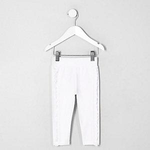 Mini - Witte legging met ruches opzij voor meisjes