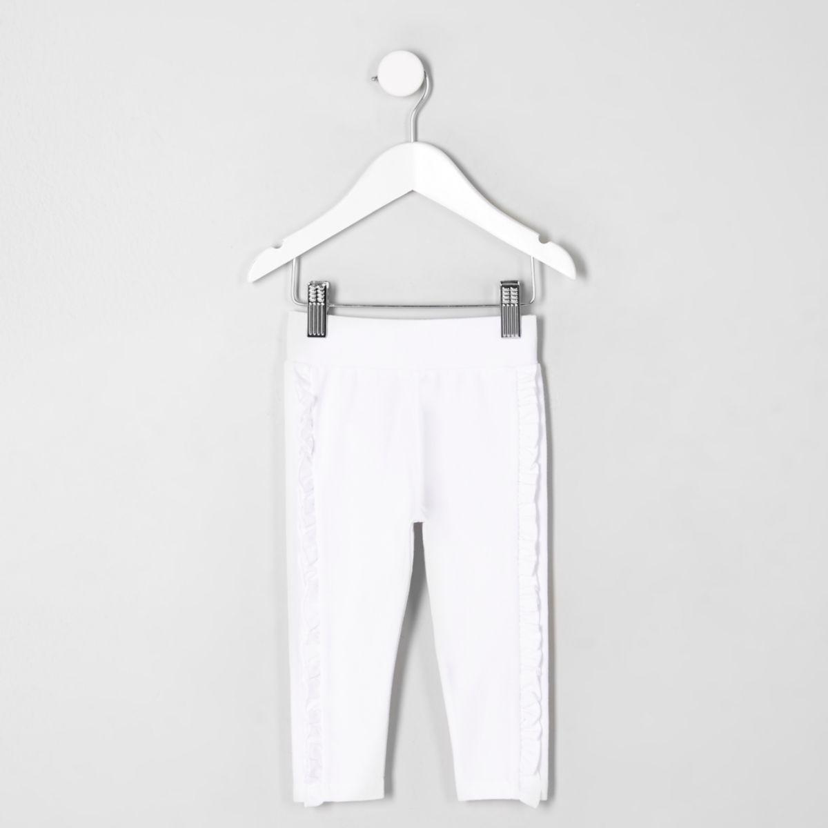 Mini girls white ruffle side leggings