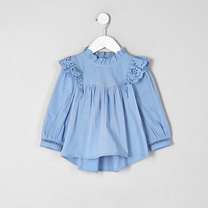 Mini girls blue frill broiderie shirt