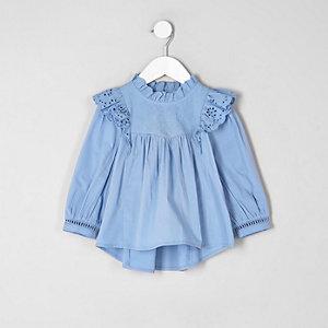 Mini - Blauw geborduurd overhemd met ruches voor meisjes