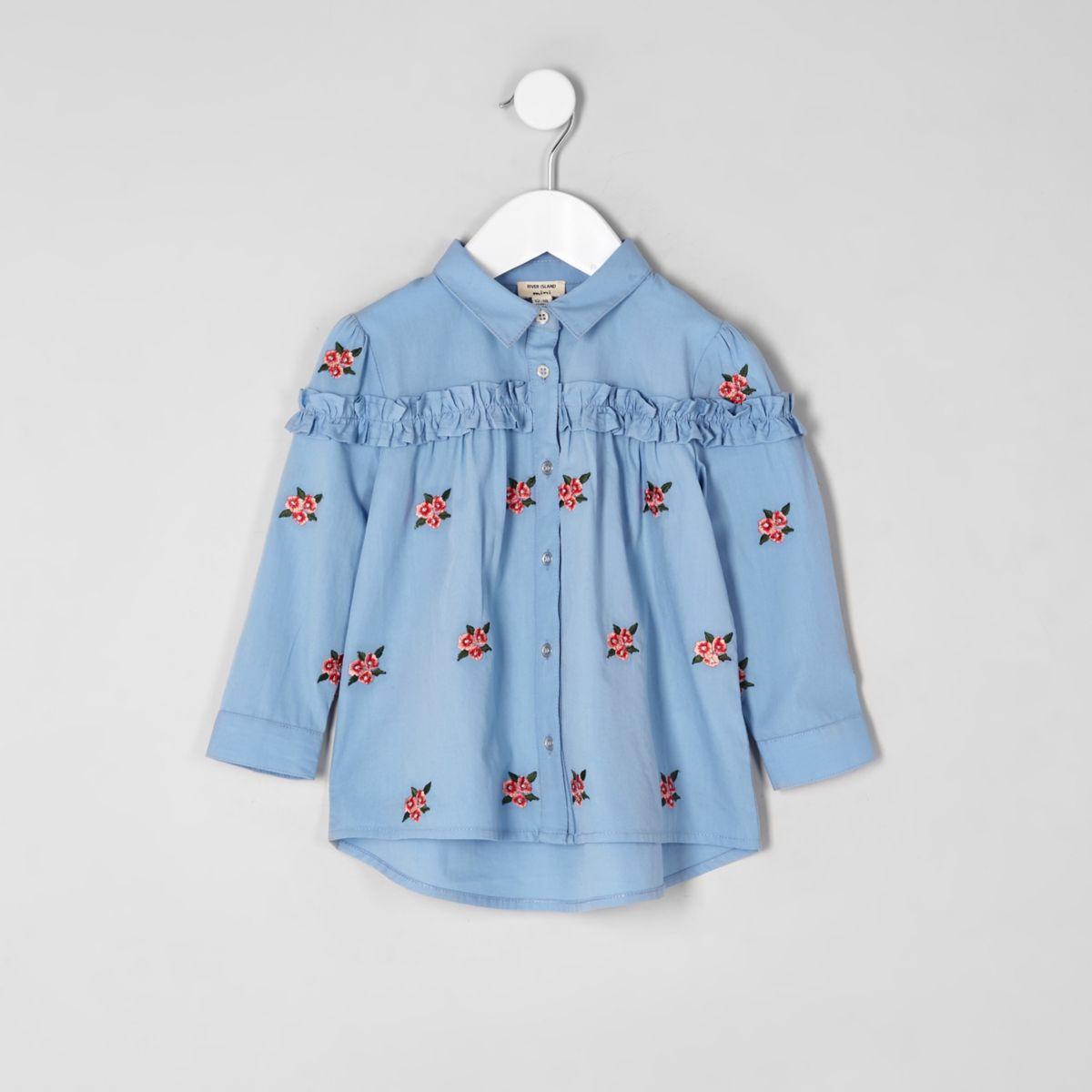 Mini girls blue poplin floral shirt