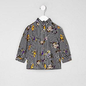 Mini - Marineblauw gestreept poplin overhemd met bloemenprint voor meisjes