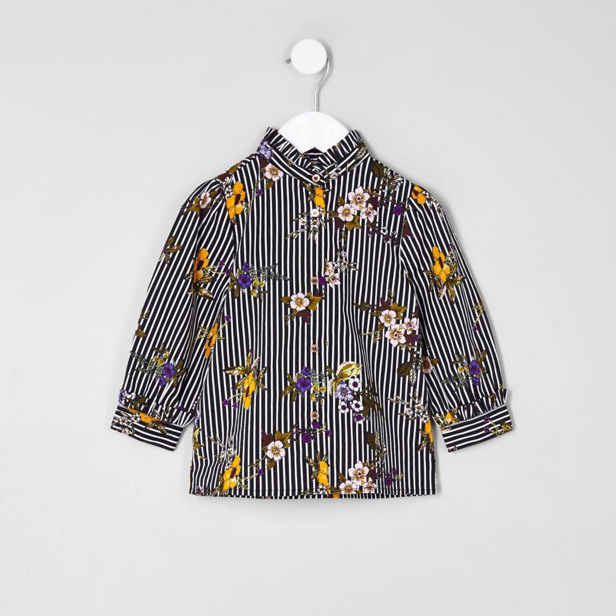 Mini girls navy poplin stripe floral shirt
