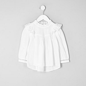 Mini girls white frill broderie shirt
