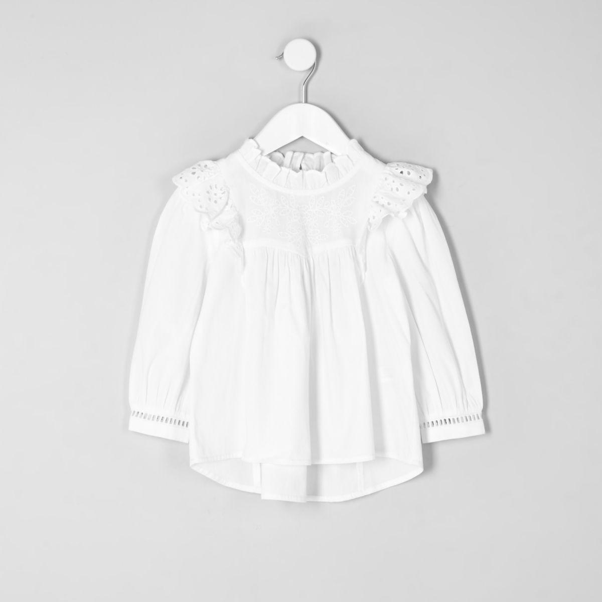 Mini girls white frill broderie shirt