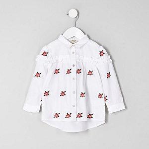 Chemise en popeline blanche à fleurs mini fille