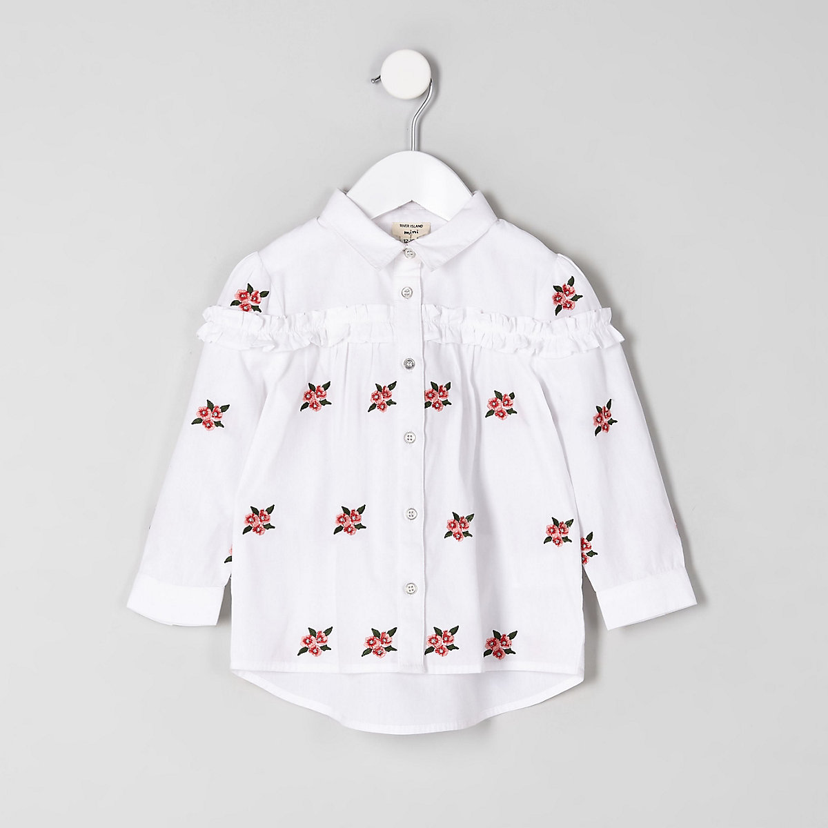 Mini girls white floral poplin shirt