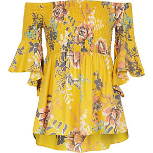 Girls yellow floral shirred bardot top