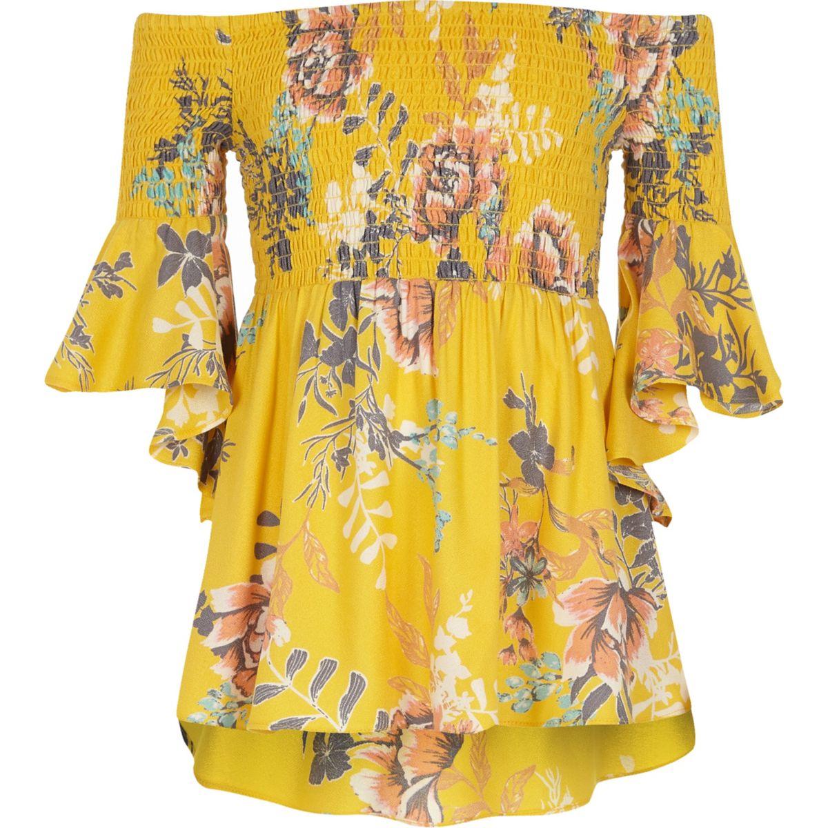 Top Bardot jaune fleuri à fronces pour filles