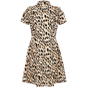 Girls brown ruffle leopard print dress