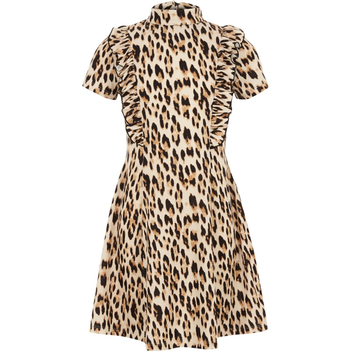 Girls brown ruffle leopard print dress