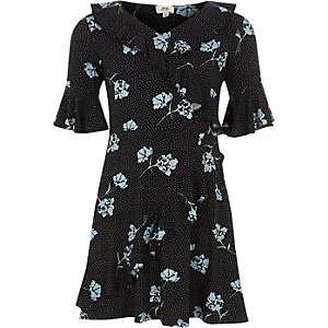 Girls black floral tea dress