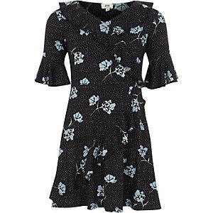 Zwarte elegante jurk met bloemenprint voor meisjes