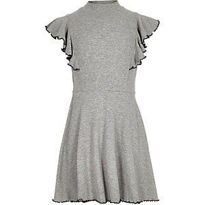 Girls grey ribbed high neck skater dress