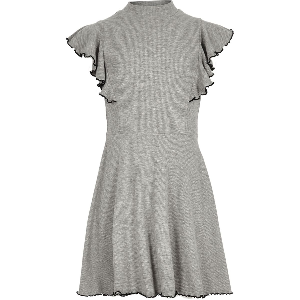 Girls grey ribbed high neck skater dress