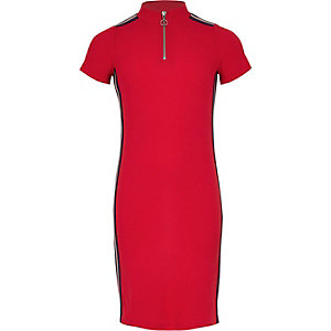 Girls red rib tape side zip front dress