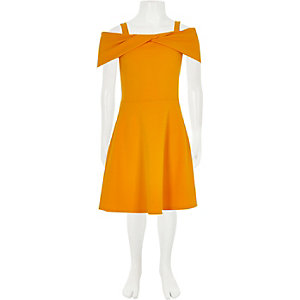 Girls yellow scuba bow dress