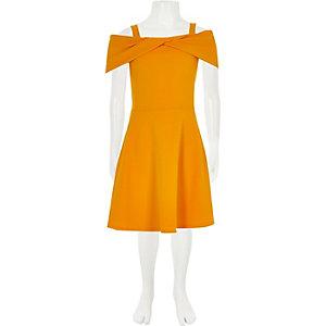 Girls yellow scuba bow dress