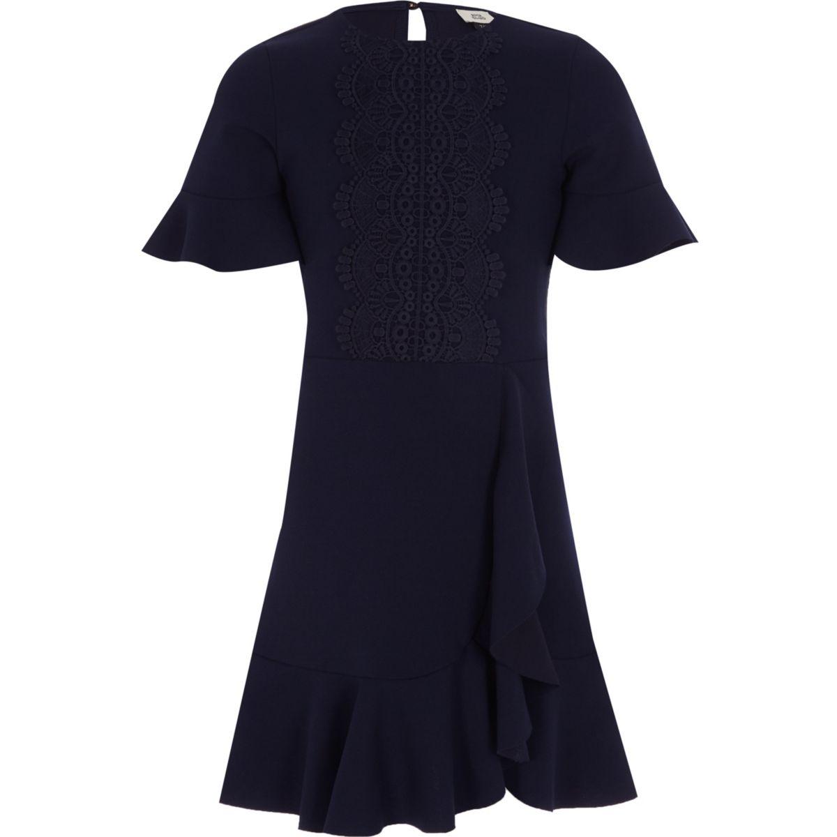 Girls navy crotchet frill hem dress