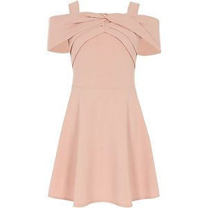 Girls pink scuba bow dress