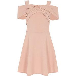 Robe à nœud en néoprène rose pour fille