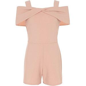 Girls pink bow cold shoulder playsuit