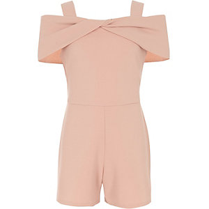 Girls pink bow cold shoulder romper