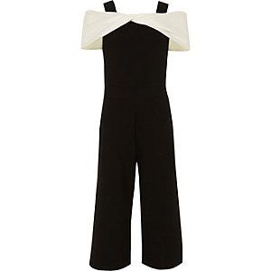 Girls white and black cold shoulder jumpsuit