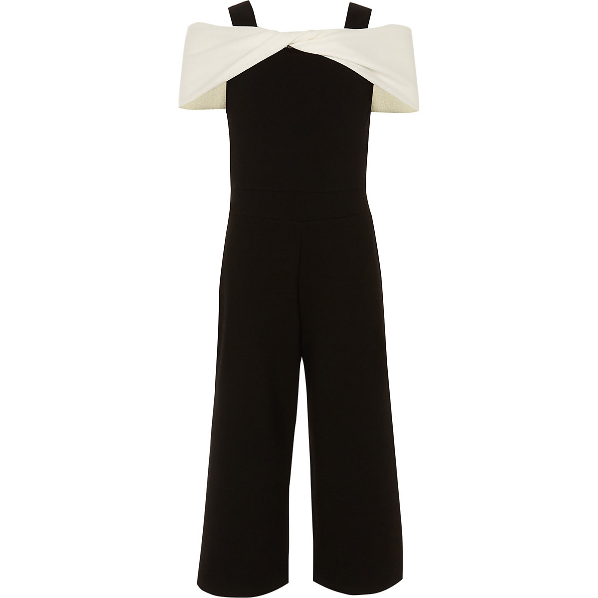 Girls white and black cold shoulder jumpsuit