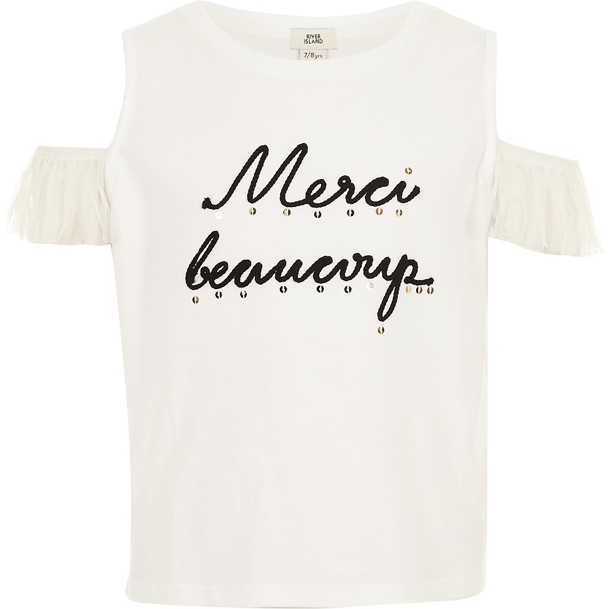 Girls cream lace cold shoulder T-shirt
