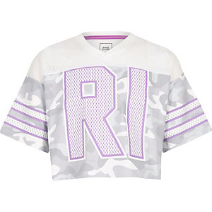 Girls grey camo mesh RI varsity T-shirt