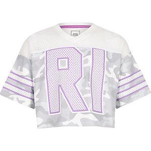 Grijs varsity T-shirt met camouflageprint en mesh voor meisjes