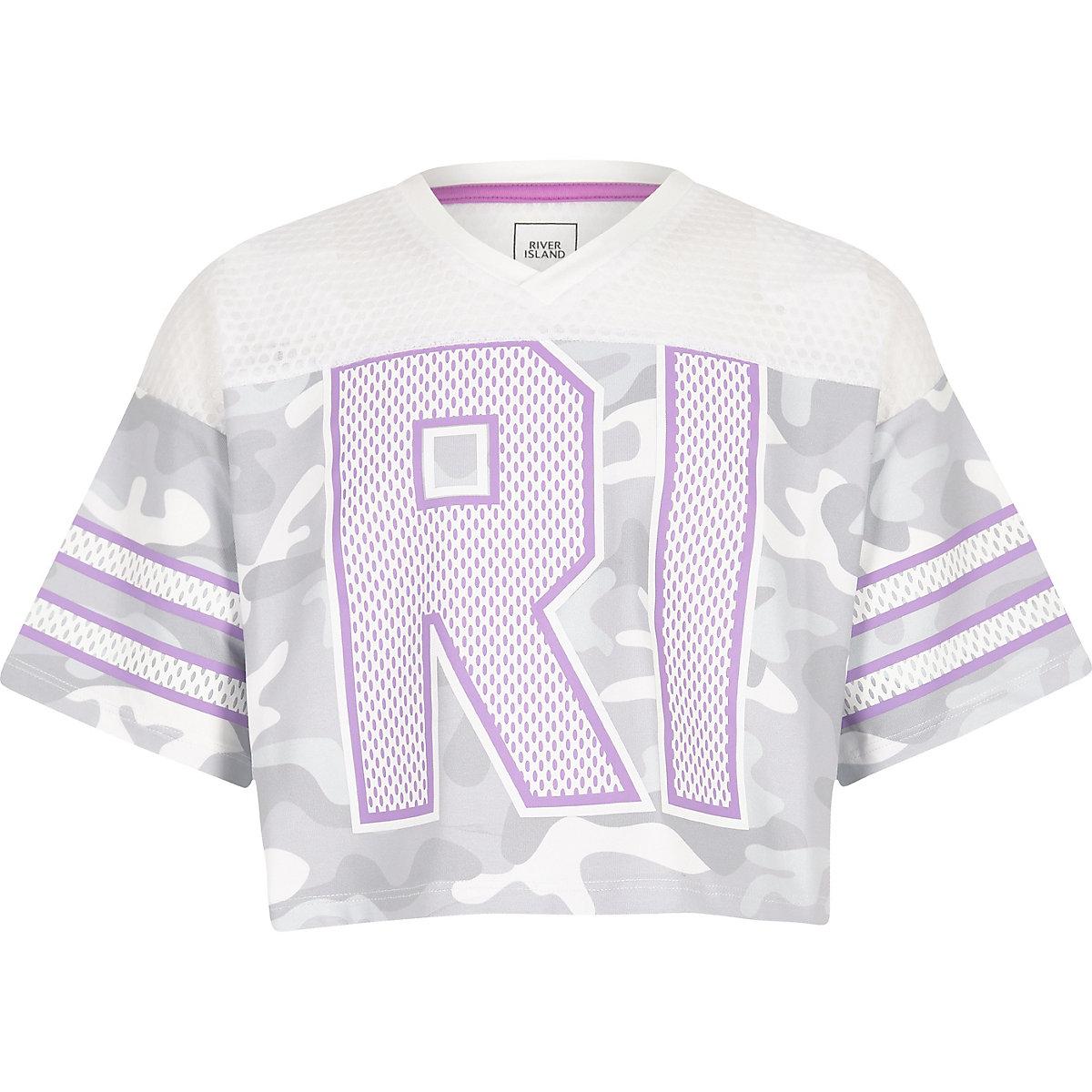 Girls grey camo mesh RI varsity T-shirt