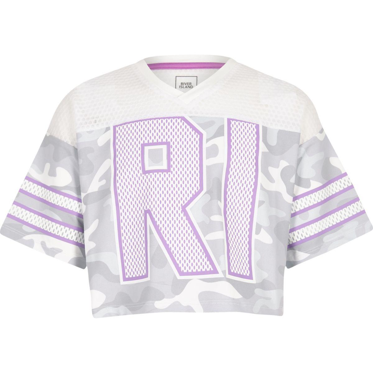 RI – T-shirt style universitaire en mesh motif camouflage gris