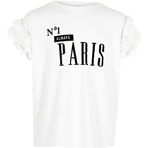 Wit T-shirt met  'No.1 Paris'-print en ruches