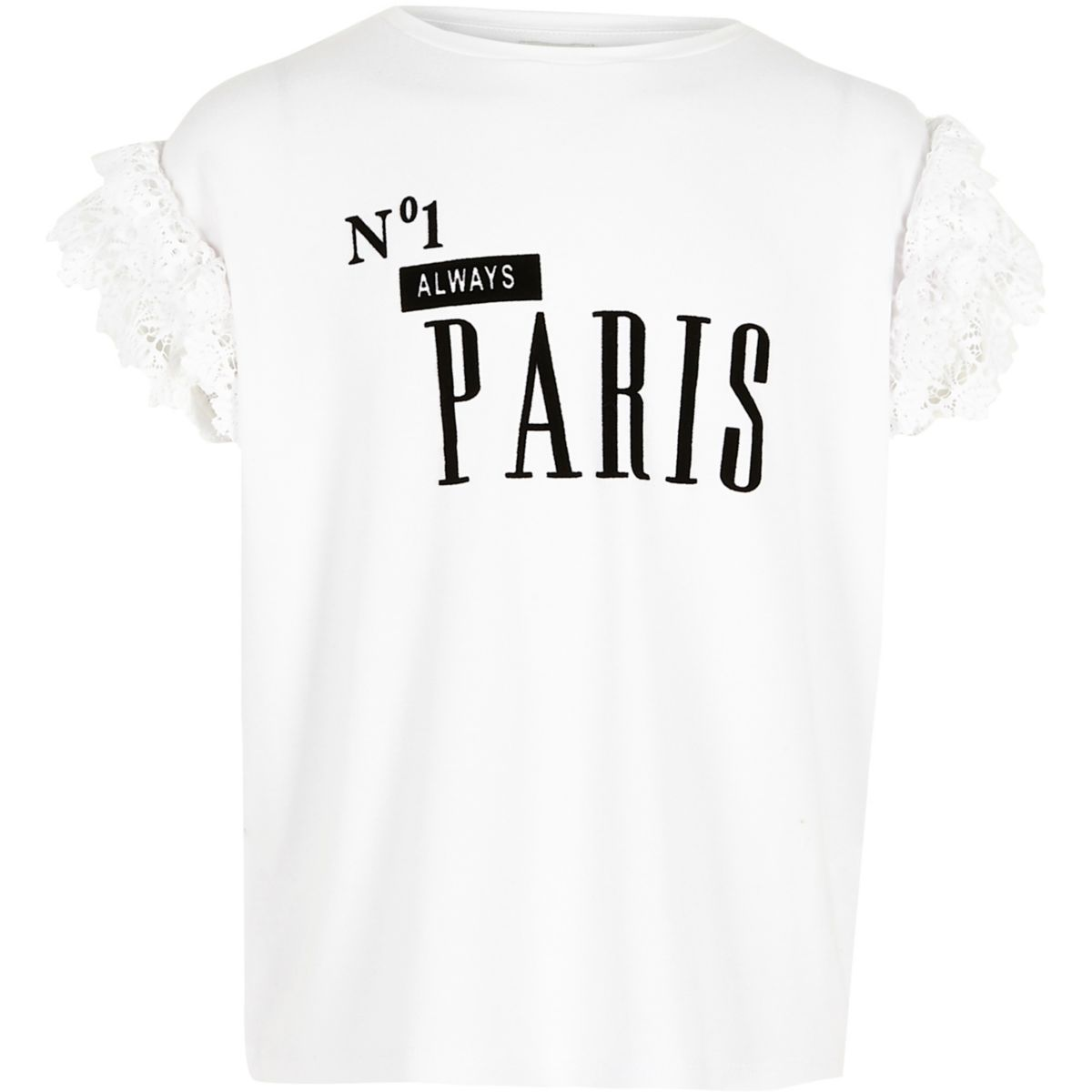 Girls white 'No.1 Paris' frill T-shirt