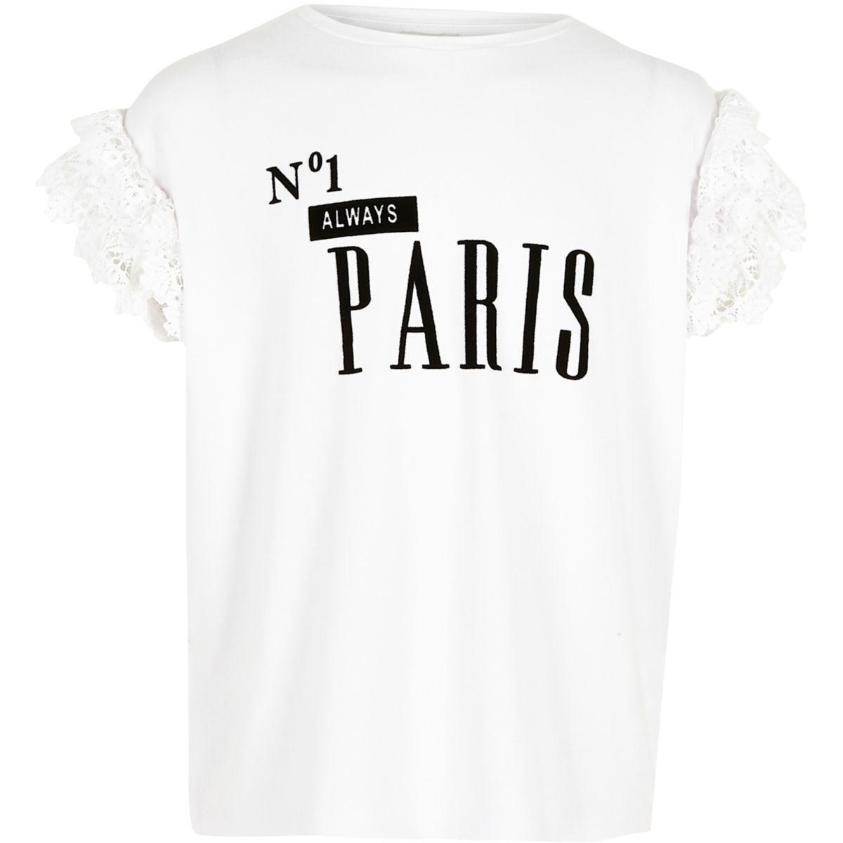 T-shirt « No.1 Paris » blanc à volants pour fille