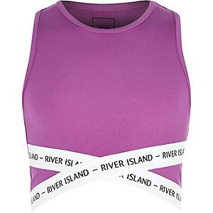 Paarse elastische crop top met RI-logo voor meisjes