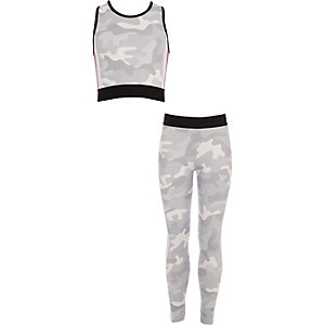Ensemble crop top camouflage gris et legging pour fille