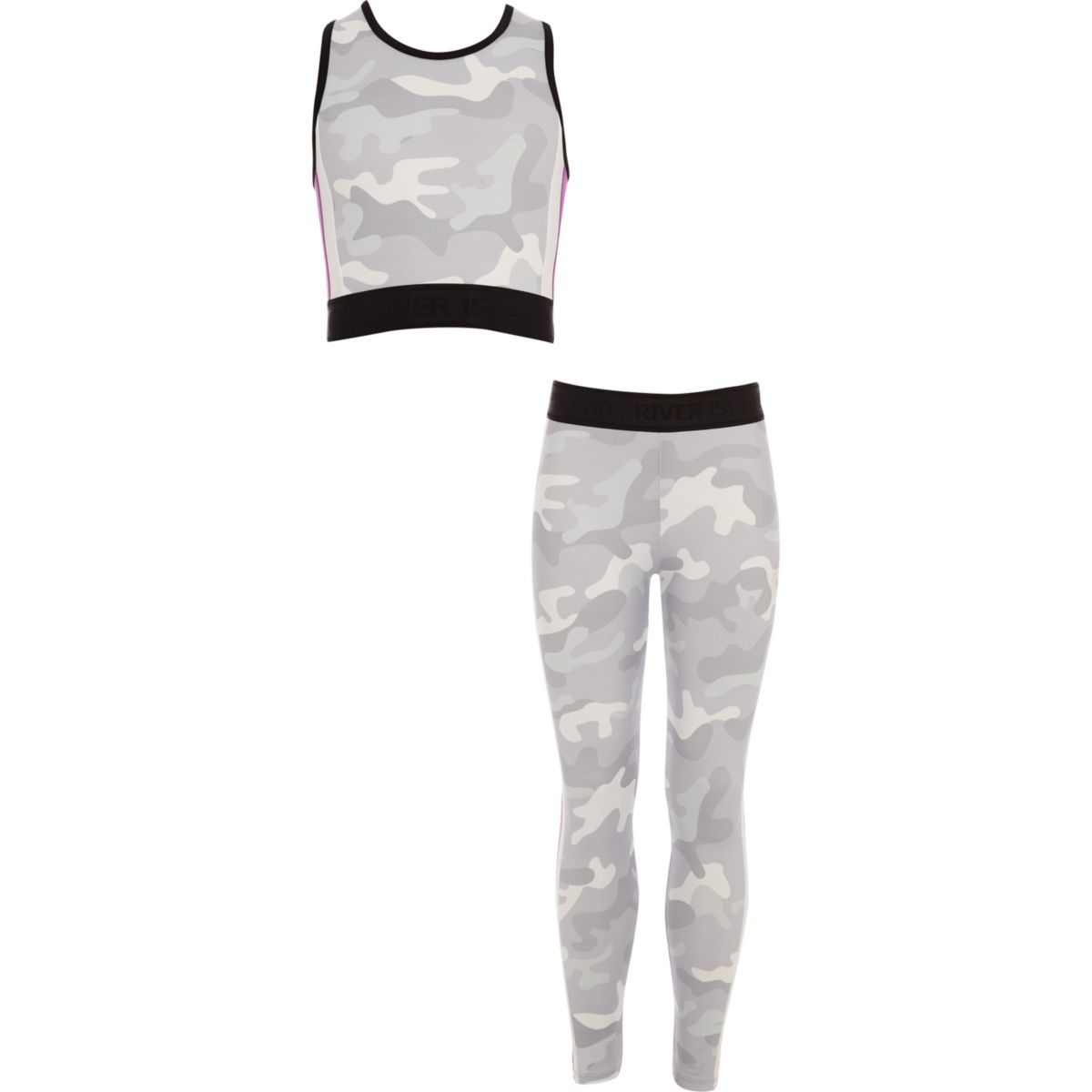 Girls grey camo crop top and legging outfit