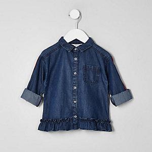 Chemise en denim coupe carrée bleue à bandes mini fille