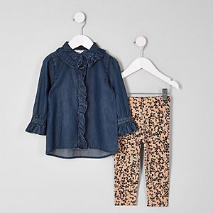 Ensemble legging et chemise en jean mini fille