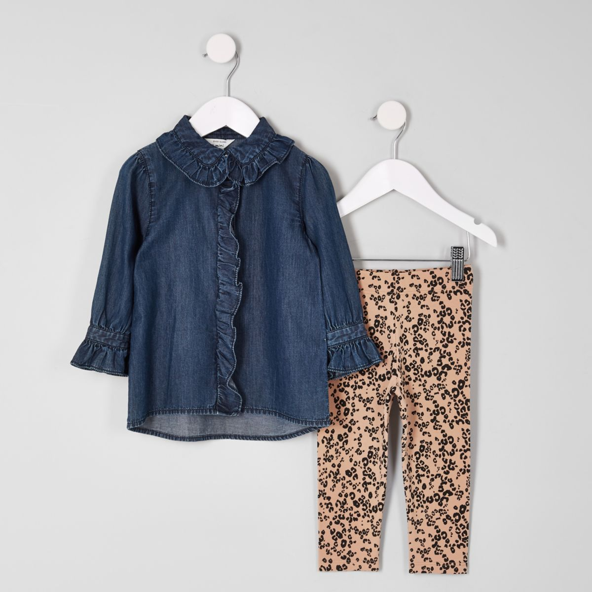 Mini girls denim shirt and leggings outfit