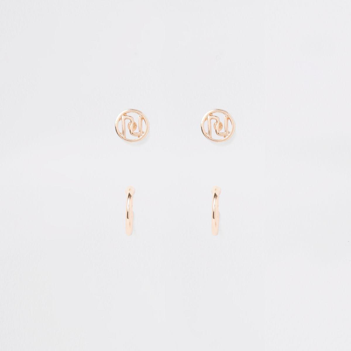 Gold tone RI stud earring stud multipack