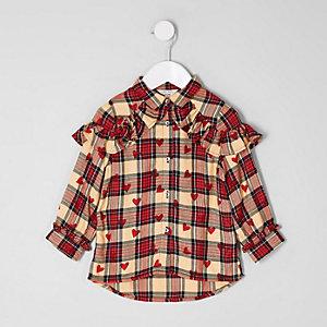 Mini girls red heart check print shirt