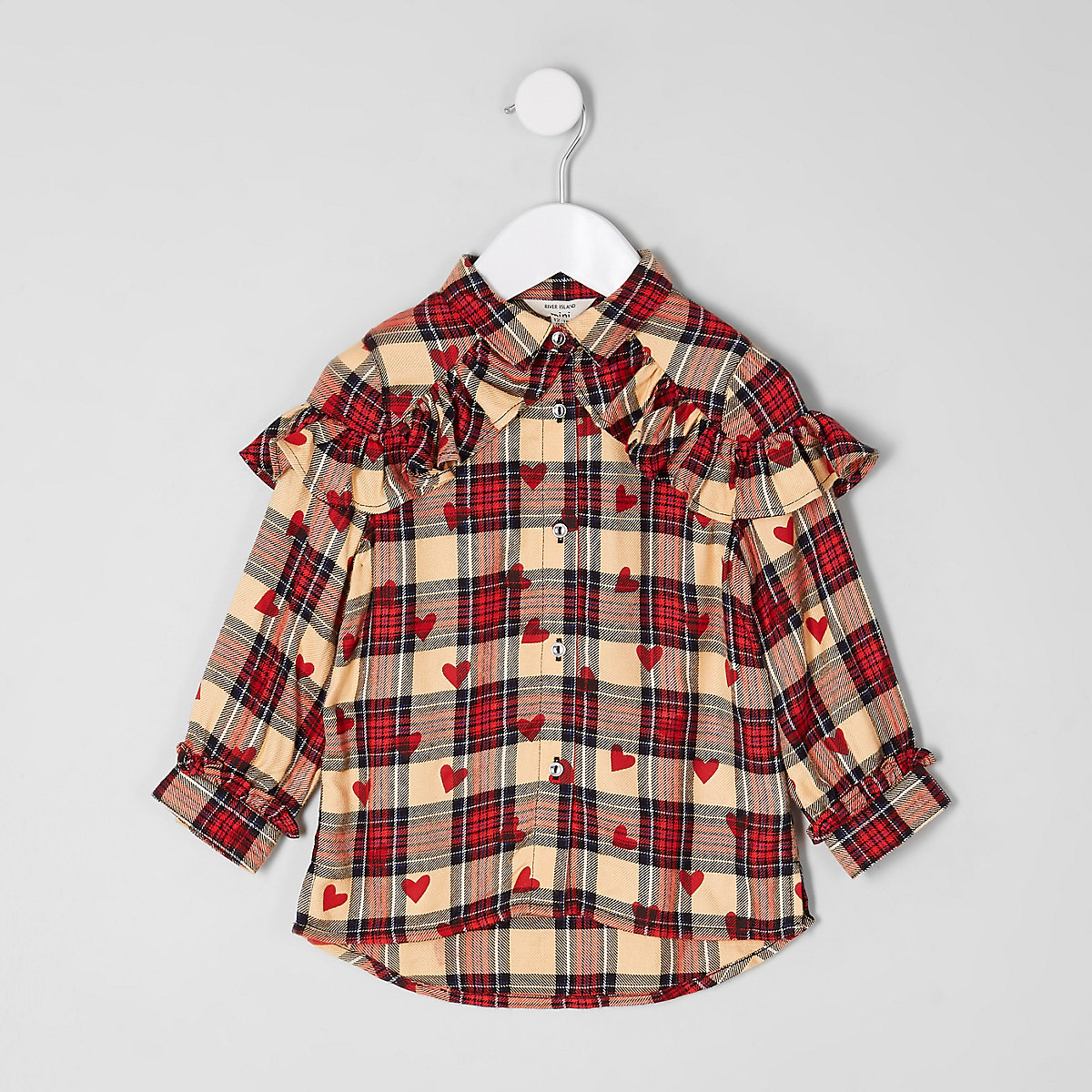 Mini girls red heart check print shirt