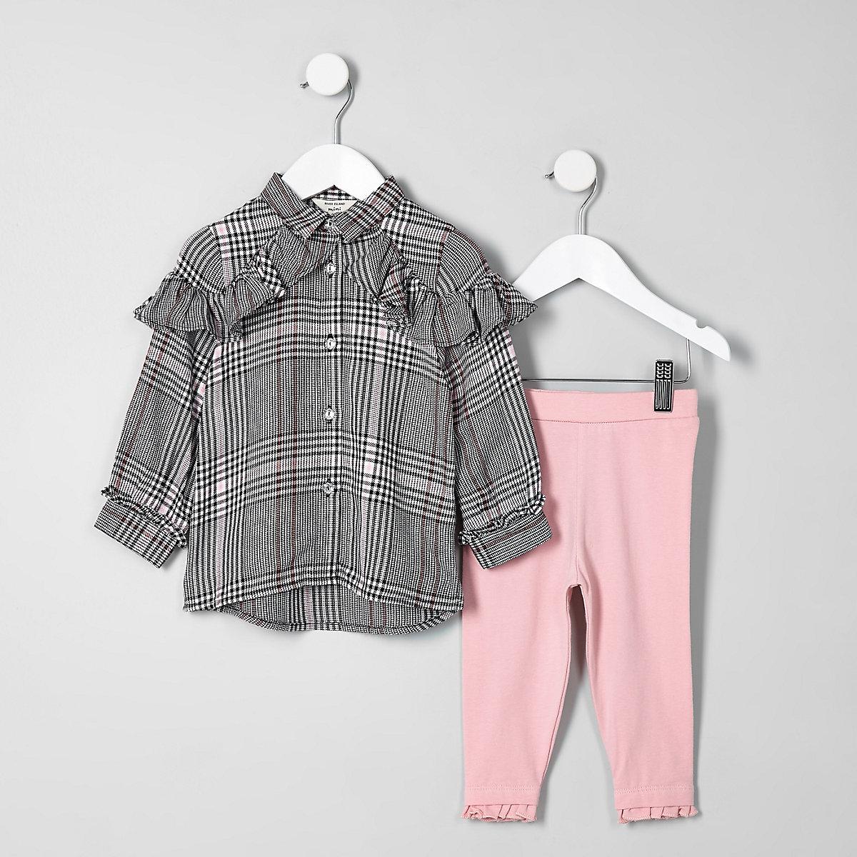 Mini girls grey check shirt outfit