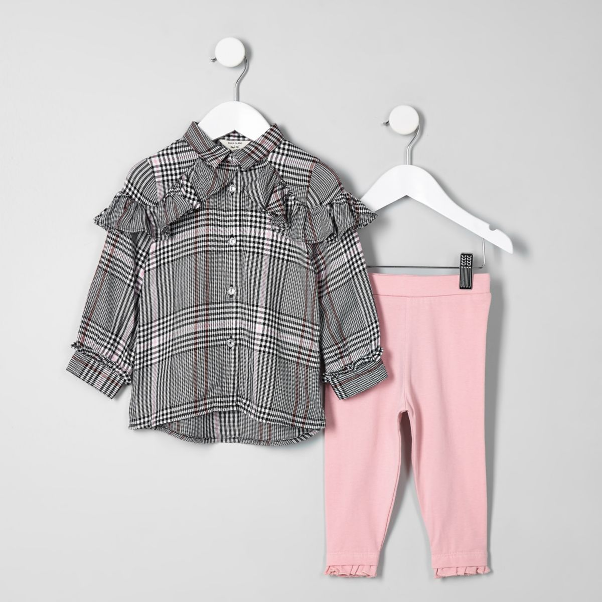 Mini girls grey check shirt outfit