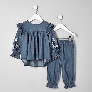 Mini - Outfit met blauwe geborduurde denim swingtop voor meisjes