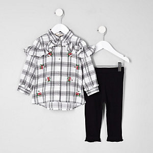 Mini girls white check frill shirt outfit
